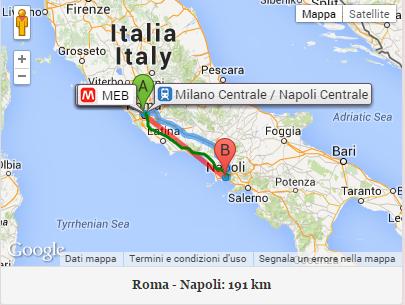 la distanza in linea d'aria e' tra roma e' napoli e' di 190 km circa